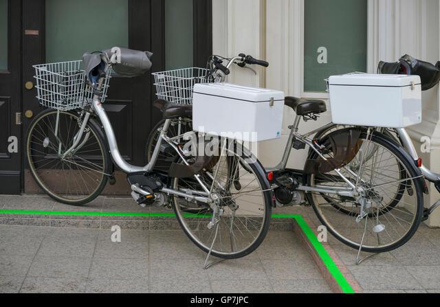 Motorised Delivery Bicycles, Kamakura, Japan   Stock Image