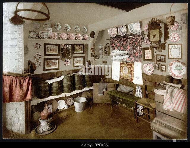 Dutch domestic interior. A kitchen in an old Dutch house between 1890 - 1900 .
