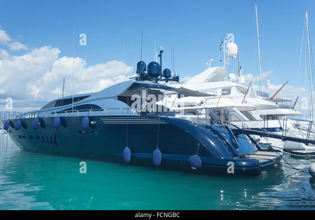Navy Blue And White Super Luxury Yachts Mooring In Nice Port French Riviera Mediterranean Sea
