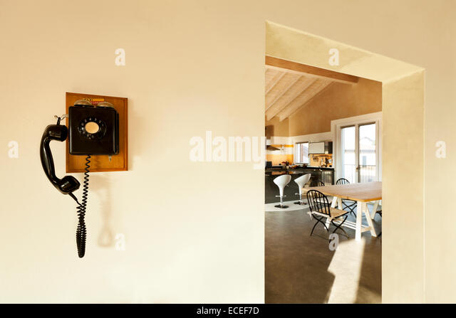 View Of The Kitchen And Phone, Vintage On The Wall   Stock Image