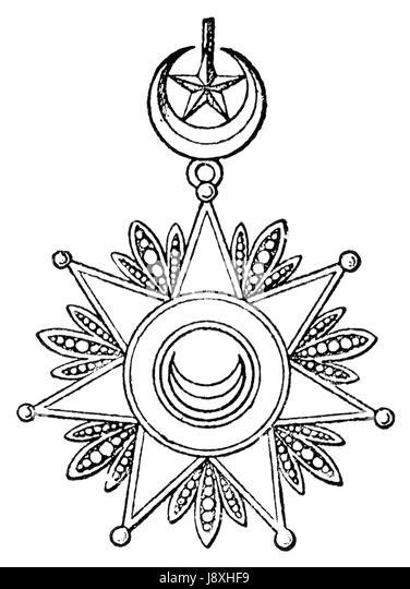 turkey sultan crescent half moon star order emblem black