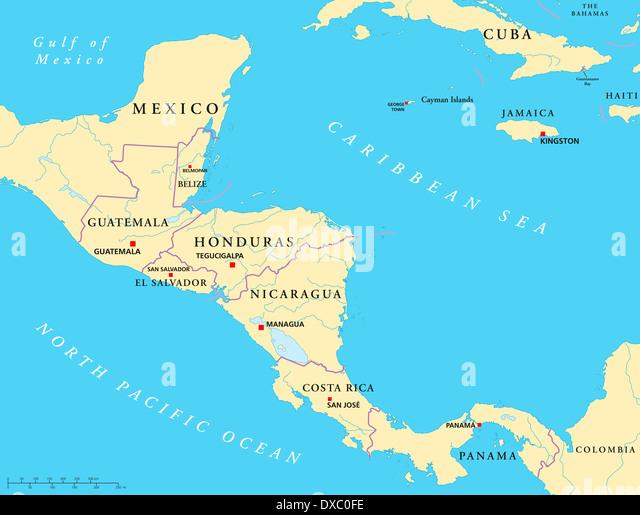 Central America Map Stock Photos