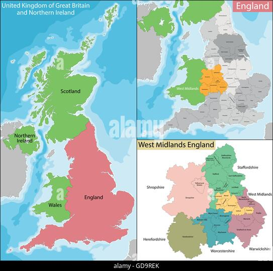 Midlands Map Stock Photos  Midlands Map Stock Images  Alamy