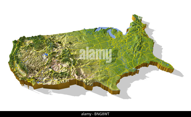 D Topographical Map Of Us - 3d topographical map of us