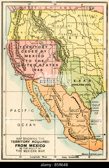 Mexican Territory Stock Photos Mexican Territory Stock Images - Map of territories acquired by the us