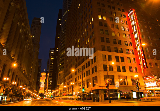 illinois chicago cadillac palace theater theater district at night. Cars Review. Best American Auto & Cars Review