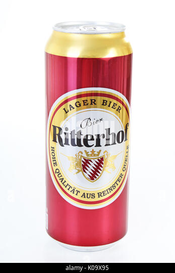 Ritterhof Beer Can On Isolated White Studio Background.   Stock Image