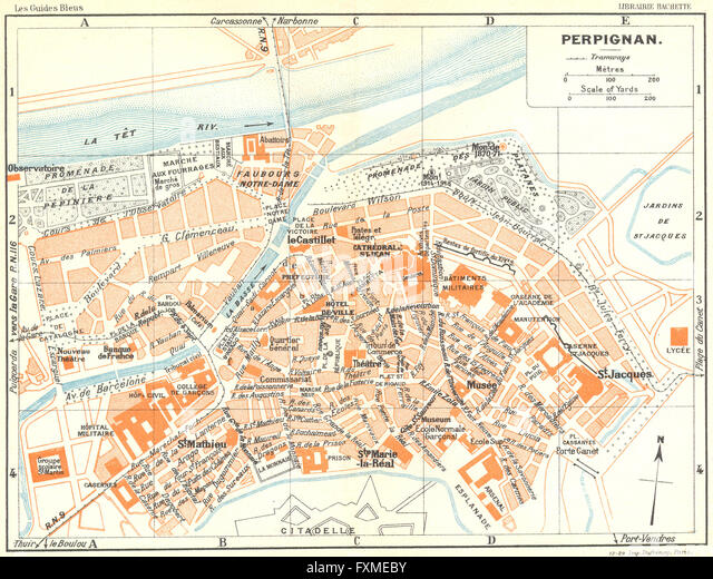 Map Perpignan France Stock Photos Map Perpignan France Stock