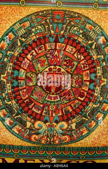 Mexican Calendar Art : Aztec art stock photos images alamy