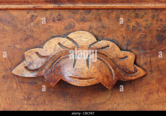 Close Up Image Of Antique Wooden Drawer Pull From Old Furniture Stock Image