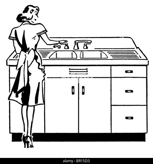 kitchen sink clipart black and white. a black and white version of vintage illustration woman washing dishes - stock kitchen sink clipart k
