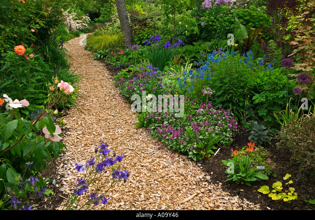 Wood chip garden stock photos