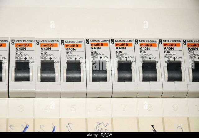 domestic fuse box close up with trip switches circuit breakers dj0jjw fuse box household stock photos & fuse box household stock images circuit breaker fuse box at crackthecode.co