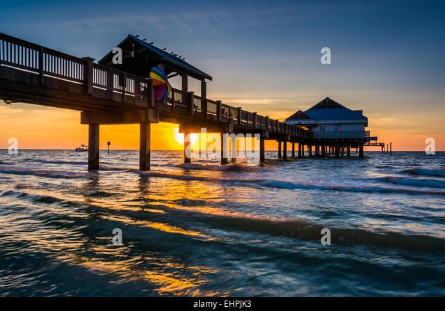 Clearwater beach florida sunset stock photos clearwater for Clearwater fishing pier