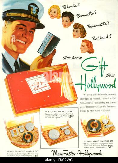 1940s Usa Max Factor Magazine Stock Photos & 1940s Usa Max Factor ...