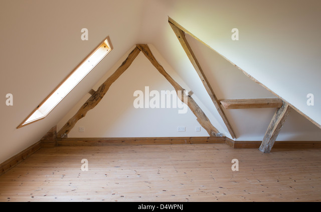 Attic Room In A New Barn Conversion In Rural England.   Stock Image