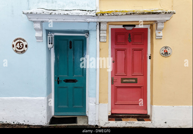 Colourful house doors in the village of Appledore England Devon - Stock Image & Devon Village Colourful Houses Stock Photos \u0026 Devon Village ...
