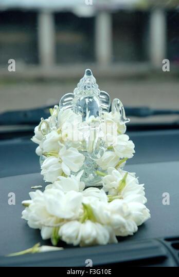 crystal statue ganpati mogra garland stock photos crystal statue