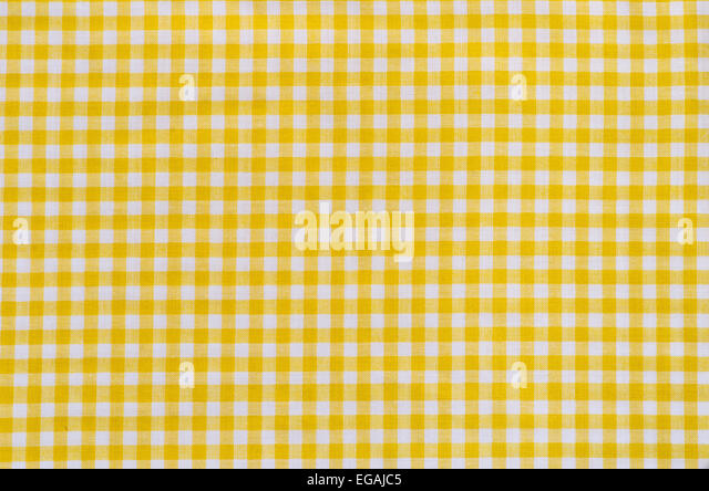 Background Of Yellow Checkered Fabric Tablecloth   Stock Image
