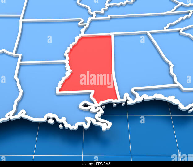 Map Of Mississippi Stock Photos Map Of Mississippi Stock Images - Mississippi state map usa