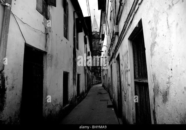 Back street and st josephs cathedral stone town zanzibar tanzania east africa