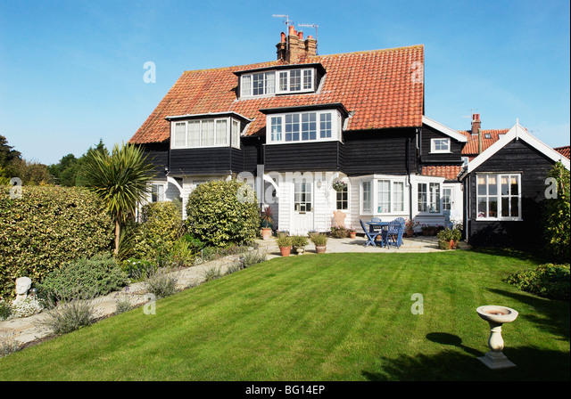 Front Garden And Semi Detached House. Thorpeness. Suffolk, UK   Stock Image