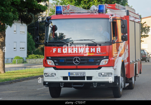 Exceptional German Fire Truck Fire Engine Mercedes Benz Voluntary Auxiliary Fire  Brigade Schwaigern Heilbronn Germany