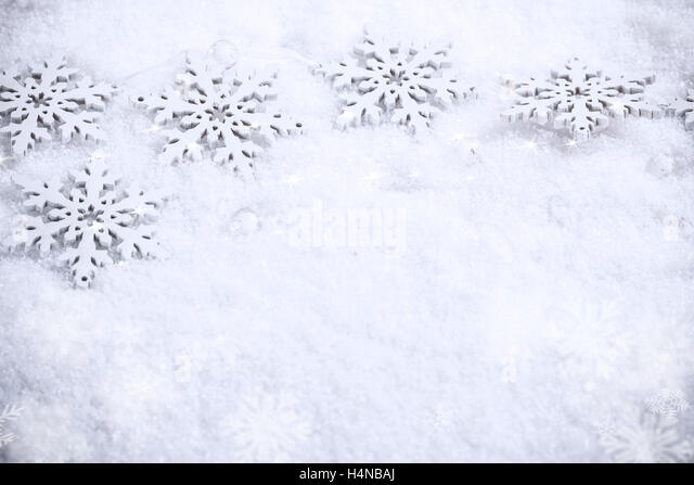 Winter Holiday Background Snowflakes Border Over Snow