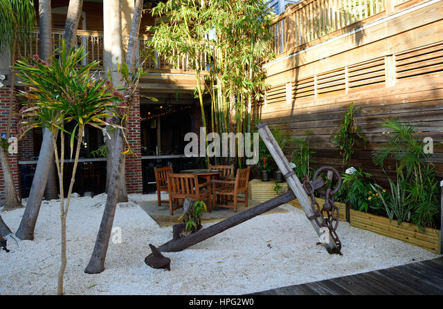 Outdoor Garden Courtyard Seating Area At The Key West Historic Seaport.    Stock Image