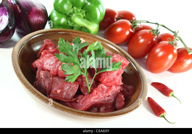 Fresh Beef Goulash With Onions Tomatoes Peppers Parsley And Chilli Stock Image