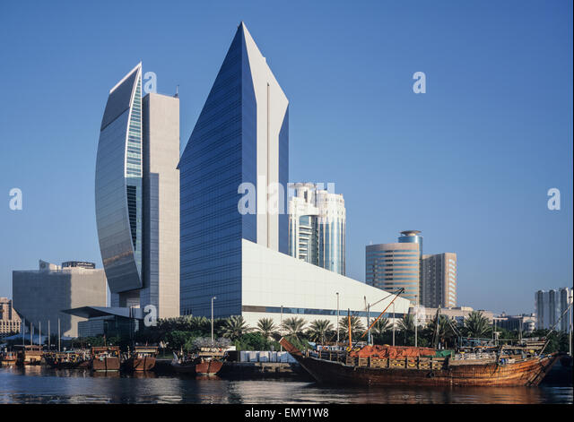 Dubai Creek; National Bank Of Dubai And Chamber Of Commerce Buildings    Stock Image