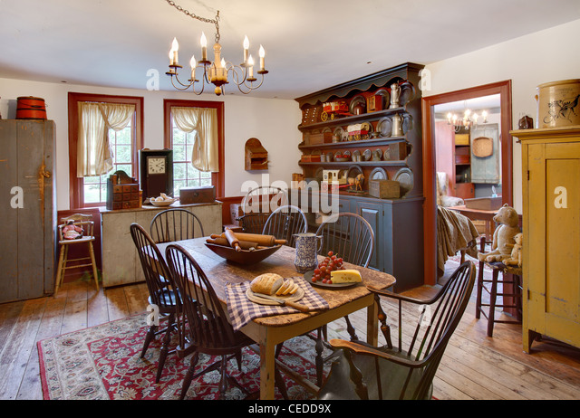 Primitive Colonial Dining Room   Stock Image