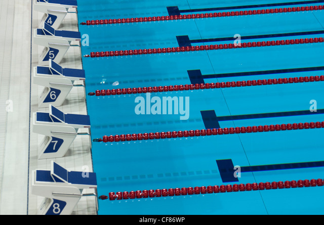 starting blocks london olympic aquatic centre stock image