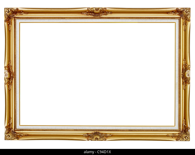old gilded frame for painting isolated on white background stock image