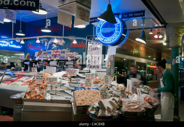 Public market center seattle stock photos public market for Fish market seattle