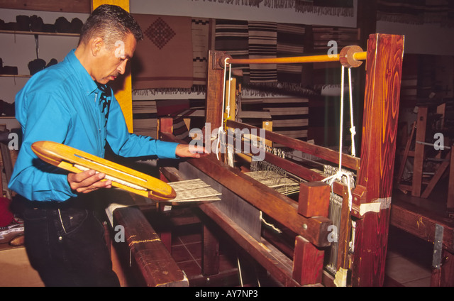 Hispanic man weaving textile stock photos hispanic man - Tapetes de lana ...