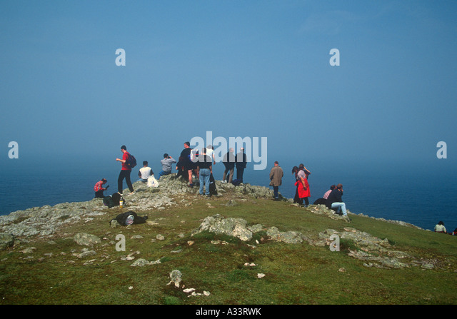 Seal Watching Skomer Island Pembrokeshire West Wales - Stock Image