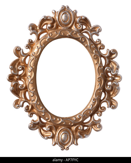 ornate oval picture frame stock image