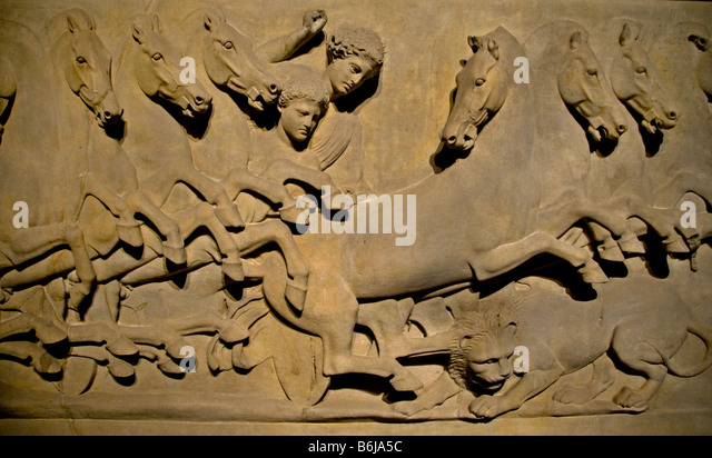 Lycian Sarcophagus Paros Marble Royal Stock Photos ...
