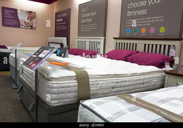interior inside bensons beds bed store shop bedroom furniture warehouse stock image