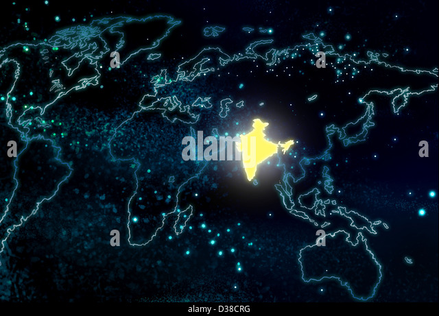 Illustrative image world map india stock photos illustrative illustrative image of world map with india highlighted stock image gumiabroncs Image collections