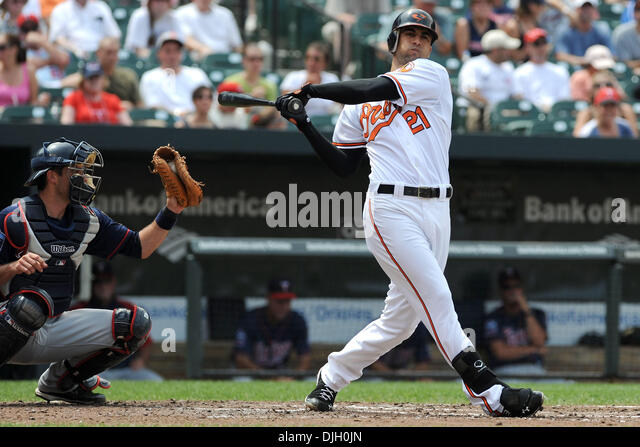8724ce9cf ... 25 July 2010 Baltimore Orioles right fielder Nick Markakis (21) strikes  out during ...