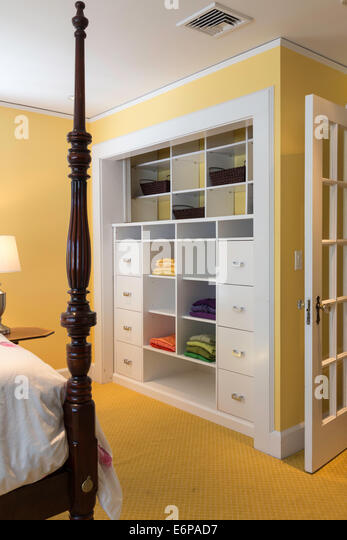 Inviting Yellow Bedroom, USA - Stock Image