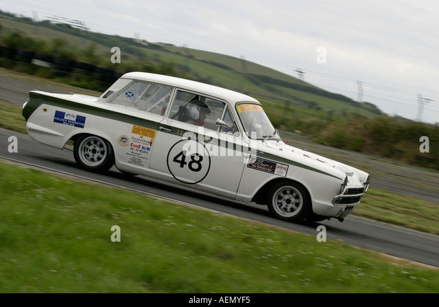 paul gray from dublin in his white 1 6 lotus cortina at kirkistown circuit county down