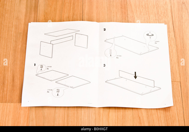Flat Pack Self Assembly Furniture Instructions   Stock Image