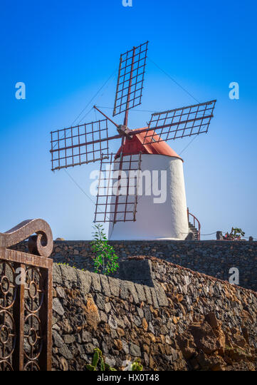 windmill which is a landmark for the jardin de cactus on the island of lanzarote