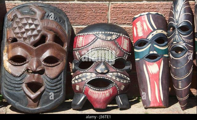 african masks for sale bloukrans bridge south africa stock image