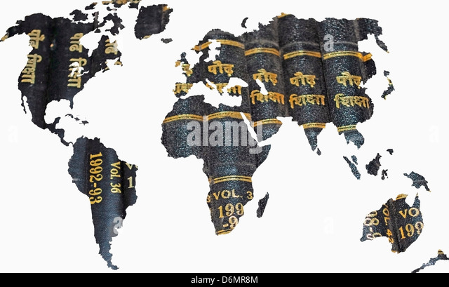 Globe atlas map geography cut out stock images pictures alamy world map books concept stock image gumiabroncs Gallery