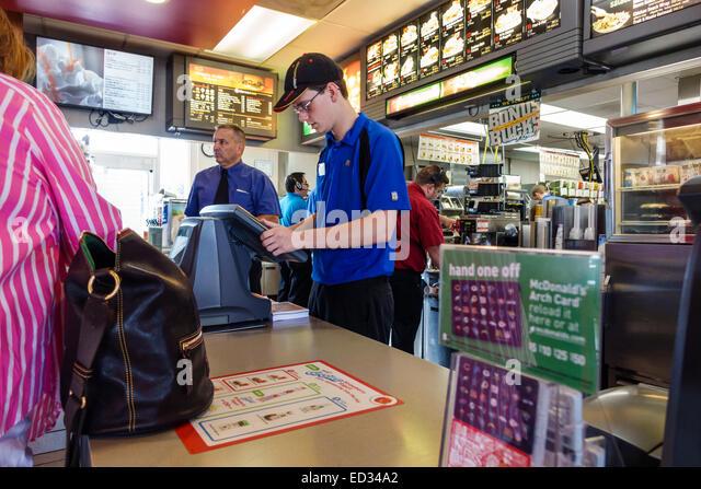 Fast food employee usa stock photos