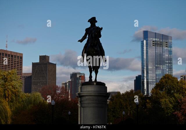The Iconic George Washington Statue In The Public Garden In Bostonu0027s Back  Bay.   Stock